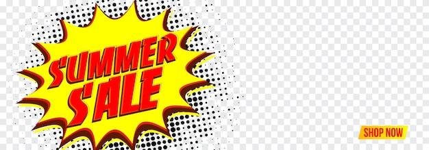 Banner de mídia social de venda de verão com pop art.