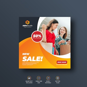 Banner de mídia social de venda nova ou modelo de folheto quadrado