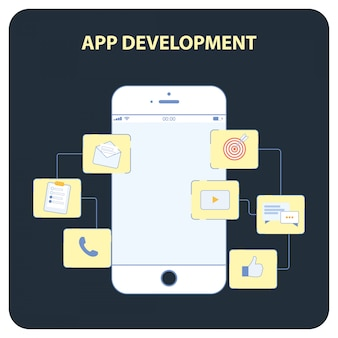 Banner de mídia social de vetor de desenvolvimento de aplicativo plana