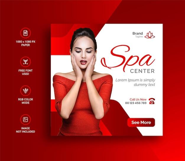 Banner de mídia social do beauty spa e postagem no instagram