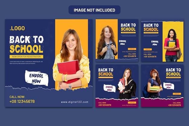 Banner de mídia social e banner de volta às aulas na web