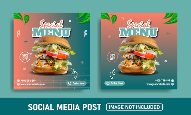 Banner de mídia social e modelo de design de instagram para hambúrguer post