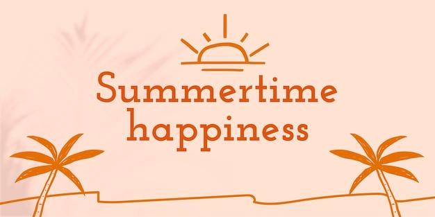 Banner de mídia social editável de modelo de felicidade no verão