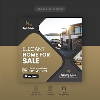 Banner de mídia social elegante e moderno para venda em casa imobiliária