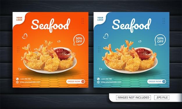 Banner de mídia social laranja e azul para venda de frutos do mar