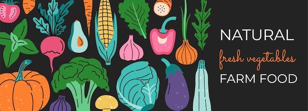 Banner de mídia social, legumes frescos. desenhado à mão modelo moderno na moda. conceito de plantas orgânicas coloridas.