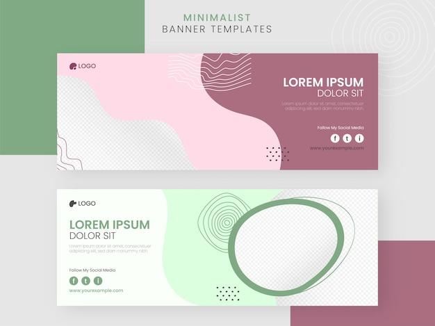 Banner de mídia social minimalista abstrato ou design de modelos com espaço de cópia.