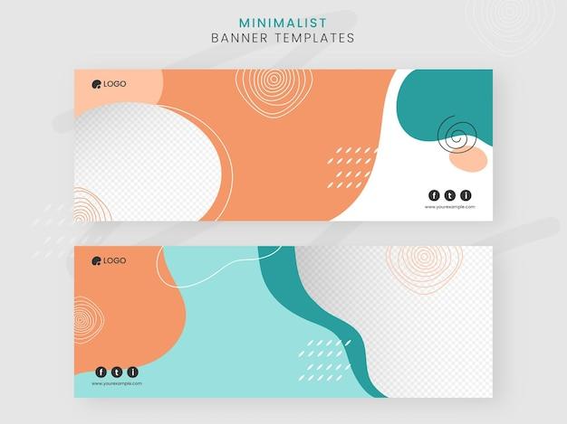 Banner de mídia social minimalista ou modelos com espaço de cópia em estilo abstrato.