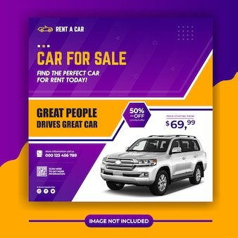 Banner de mídia social para promoção de aluguel de automóveis modelo de banner de postagem do instagram