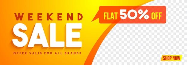 Banner de mídia social para venda de fim de semana.