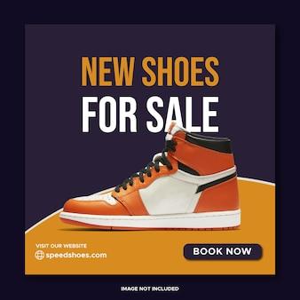Banner de mídia social para venda de sapatos novos e design de postagem no instagram