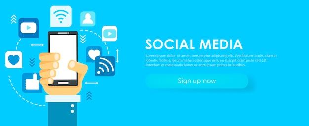 Banner de mídia social. telefone com ícones.