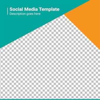 Banner de mídia social verde e laranja