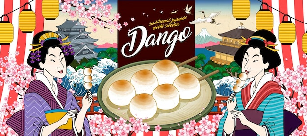 Banner de mitarashi dango japonês com duas gueixas comendo sobremesas no estilo ukiyo-e