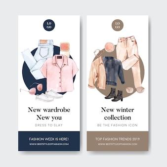Banner de moda com camisa, calça, sapatos, óculos de sol