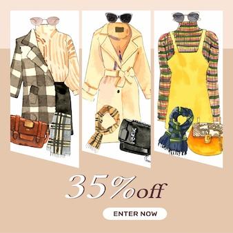 Banner de moda com casaco de mão desenhada, blusa, saia e cachecol