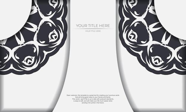 Banner de modelo branco com ornamentos abstratos e coloque sob o texto. modelo de cartão de convite para impressão de design com padrões de mandala.
