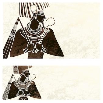 Banner de modelo com o símbolo do antigo egito