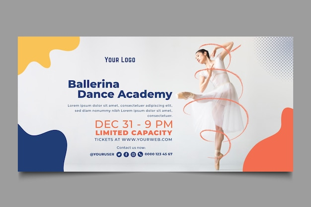 Banner de modelo de academia de dança