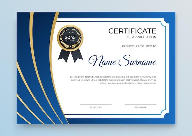 Banner de modelo de certificado com forma geométrica abstrata para modelo de impressão com onda dourada e branco limpo moderno