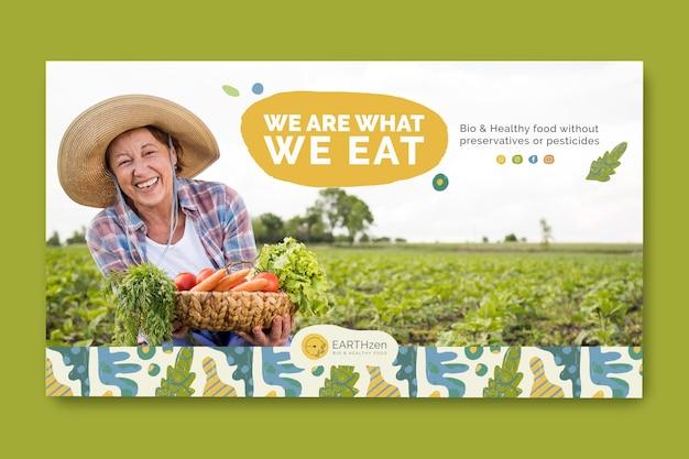 Banner de modelo de comida biológica e saudável