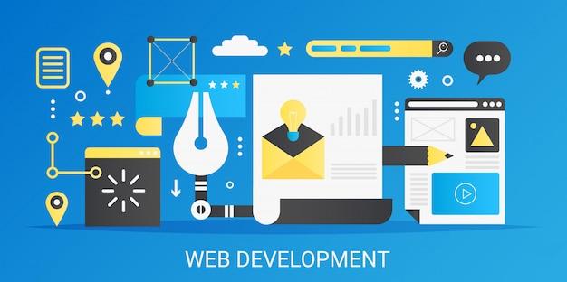 Banner de modelo de conceito de desenvolvimento web moderno vetor plana gradiente com ícones e texto.