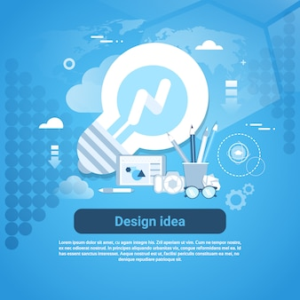 Banner de modelo de desenvolvimento web de idéia de design com espaço de cópia