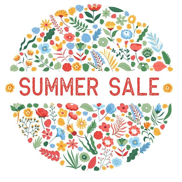 Banner de modelo de design floral do círculo de venda de verão