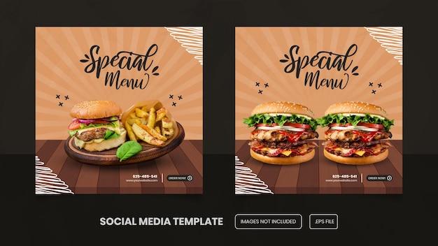 Banner de modelo de hambúrguer de menu especial para postagens em mídias sociais premium eps