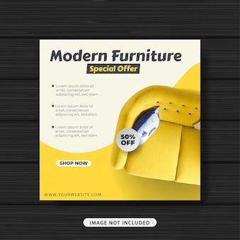 Banner de modelo de postagem de promoção de venda de móveis modernos