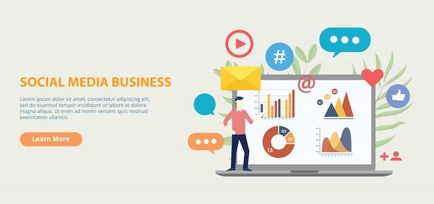 Banner de modelo de site de ícone de negócios de mídia social