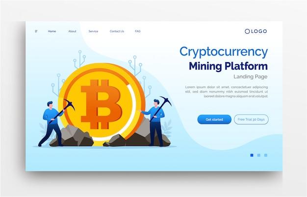 Banner de modelo de site de página de destino de investimento em criptomoeda