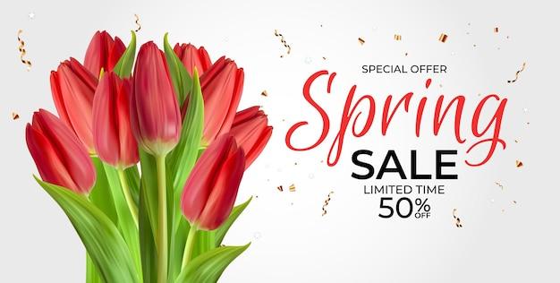 Banner de modelo de venda de primavera com flor de tulipa realista.