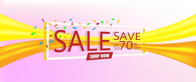 Banner de modelo de venda no desconto economizar até 70% de desconto.