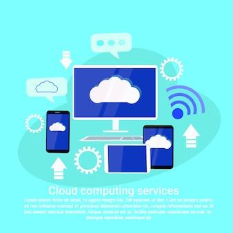 Banner de modelo de web de serviços de computação em nuvem com espaço de cópia