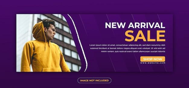Banner de modelo e facebook cobrem anúncios com cor índigo e mostarda