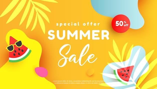 Banner de modelo editável de venda de verão com elementos líquidos fluidos, folhas tropicais, fatias de melancia