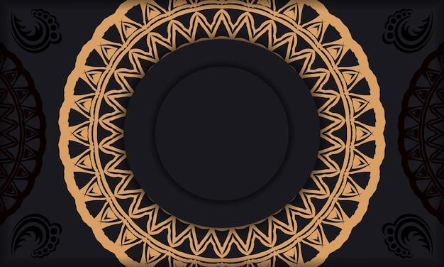 Banner de modelo preto com enfeites e lugar para o seu logotipo. projete o plano de fundo com padrões abstratos.