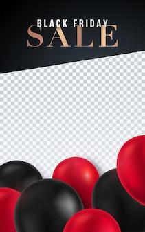 Banner de modelo vertical preto sexta-feira com balões de hélio