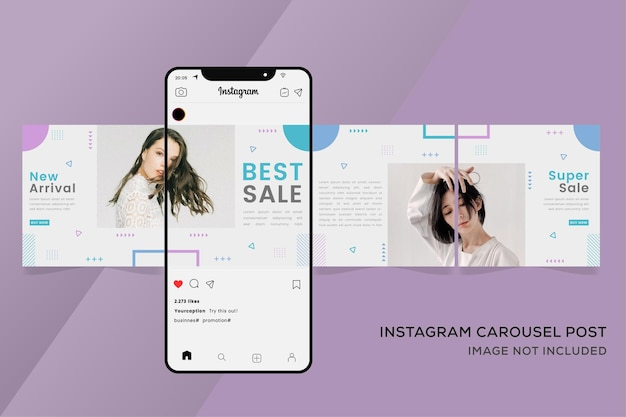 Banner de modelos de carrossel instagram para venda de moda colorida