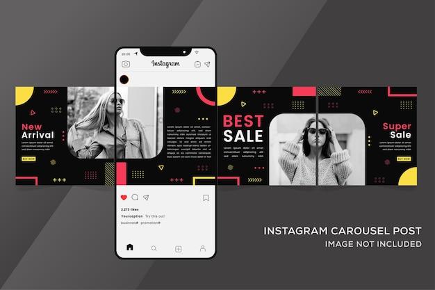 Banner de modelos de instagram em carrossel para venda de moda