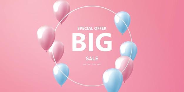 Banner de moldura de celebração de balões rosa
