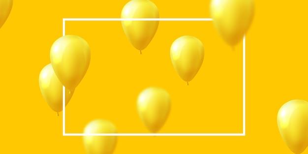 Banner de moldura de celebração em amarelo de balões