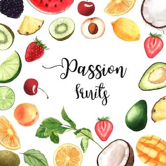 Banner de moldura de frutas tropicais com texto, maracujá com kiwi, abacaxi, padrão frutado
