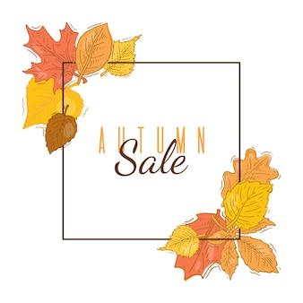 Banner de moldura quadrada de venda outono. moldura quadrada com folhas outonais. quadrados de venda de outono banner modelo com folhagem emoldurada.