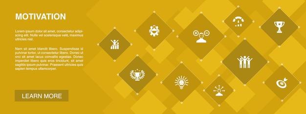 Banner de motivação 10 ícones concept.goal, desempenho, conquista, ícones simples de sucesso