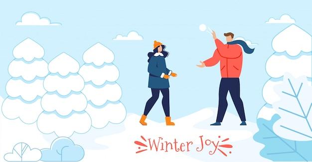 Banner de motivação de alegria de inverno com casal feliz