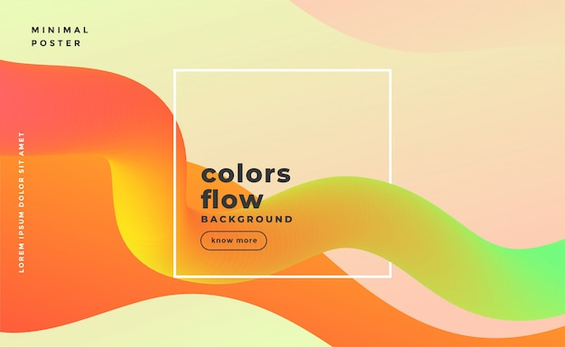 Banner de movimento abstrato onda fluida em cores quentes
