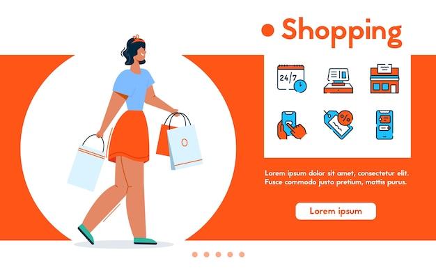 Banner de mulher sorridente detém muitos pacotes de compras, varejo, venda e esgotamento. conjunto de ícones lineares de cores - loja de conveniência, construção de loja, descontos, compras online, cliente satisfeito