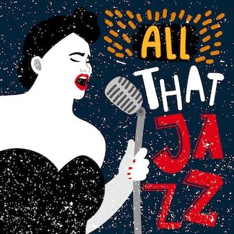 Banner de música com cantora. toda essa ilustração do jazz